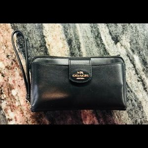 COACH black wristlet with gold hardware